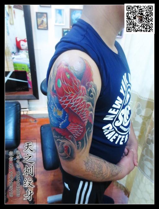 手臂女郎纹身手稿图案