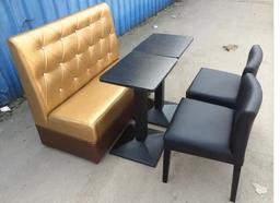 供应用于皮革的美式复古西餐厅卡座沙发酒吧咖啡厅桌椅甜品店奶茶店餐桌椅组合