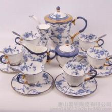 供应24头高档骨瓷咖啡具,壶糖奶,杯碟,咖啡勺,蛋糕盘,花插批发