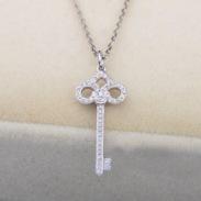 钻石鸢尾花钥匙项链 18K白金钻石图片