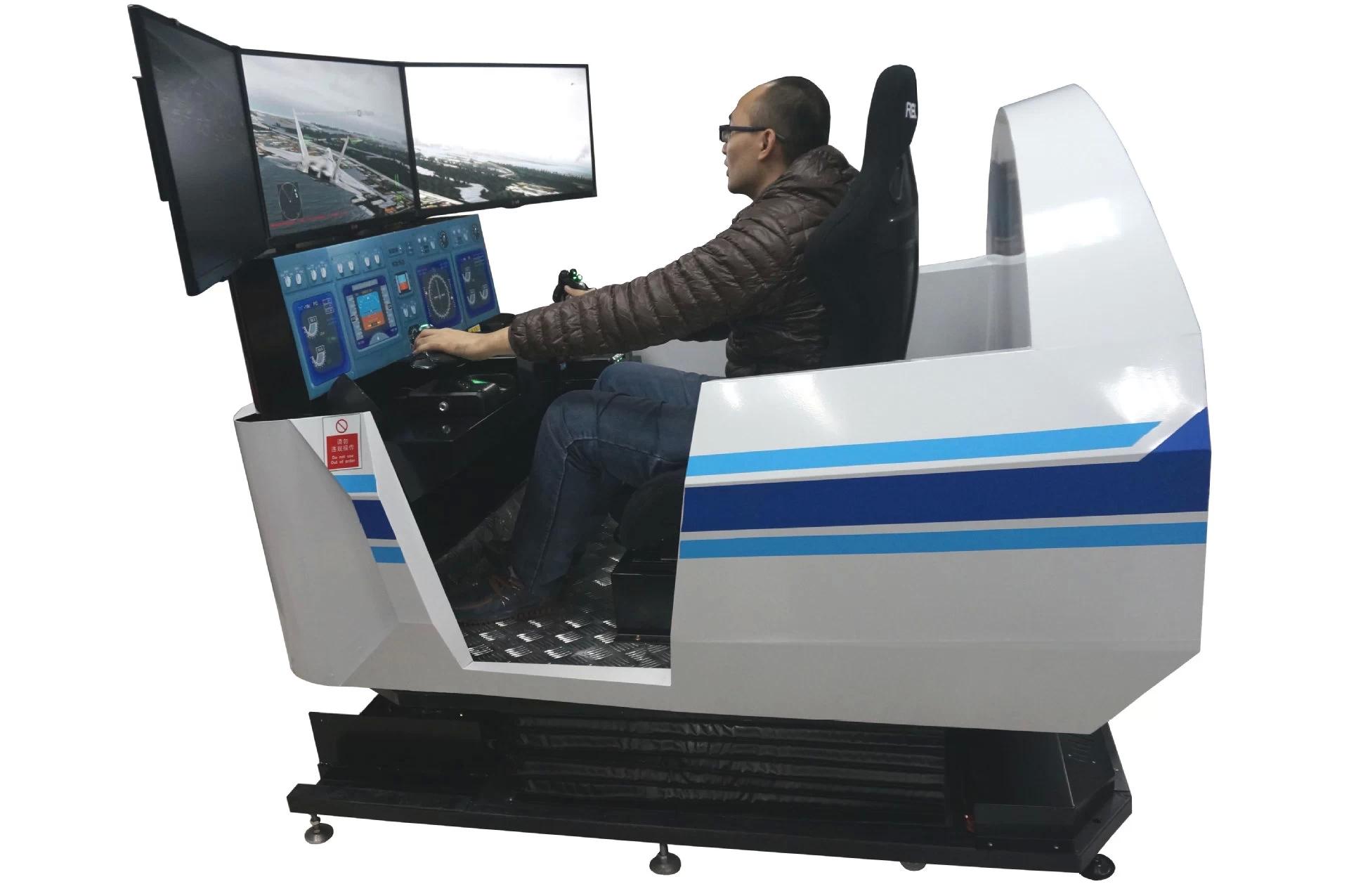 一、产品介绍 全动感战斗机飞行模拟器采用3自由度电动缸动感平台,赛车方向盘,42寸3D电视,高配置游戏电脑一套。 计算机配置要求:  2G以上内存(推荐配置4GB内存);  CUP主频2.6GHz以上(推荐配置3.0GHz);  硬盘空余空间4G以上;  显示器最低支持1280*768分辨率/支持扩充独立显卡;  支持操作系统有:Windows2000、WindowsXP、Windows Vista、Windows7,推荐(Windows7)。 游戏支持: 微软模拟飞行、F-22、X-Plane、