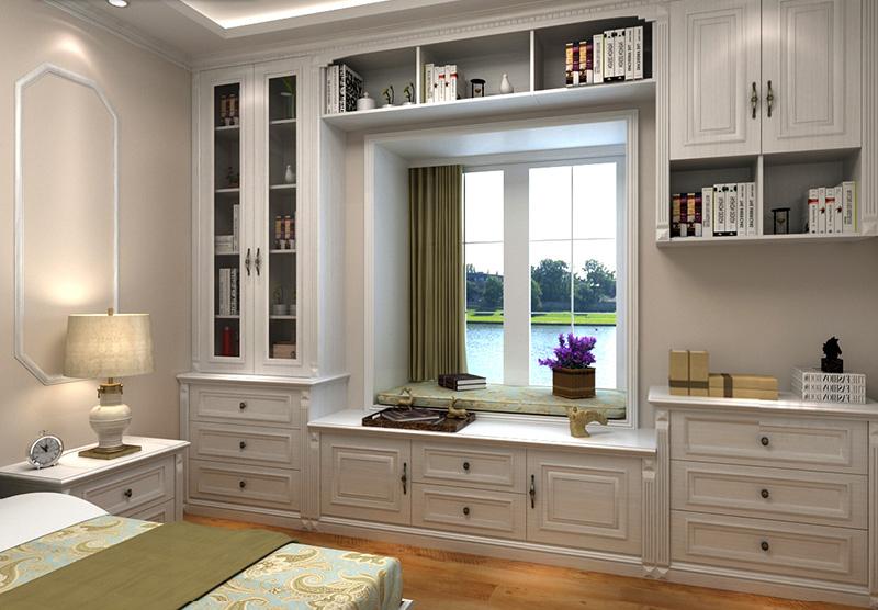 供应定制飘窗整体书柜欧式风格飘窗柜