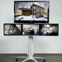 供应深圳液晶显示器4屏移动推车,电视机落地支架,会议室移动落地推车 图片|效果图