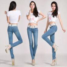 供应用于穿卖的韩版超弹力中腰铅笔裤牛仔裤小脚裤批发