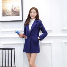 2015秋冬韩版大码女装时尚加厚中长款女式毛呢大衣呢子外套批发