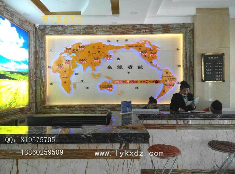 供应工艺世界地图钟-酒店吧台背景墙办公装饰用品