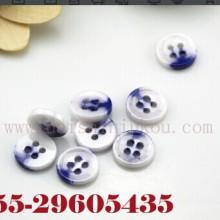 供应用于服装辅料的钮扣青花瓷西装衬衫圆形四孔陶瓷扣批发