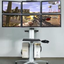 供应6屏液晶显示器拼接移动架14-24寸6屏电视移动支架多屏拼接落地式移动架会议室多屏移动架批发