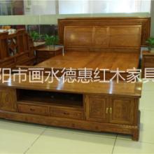 供应辉煌雕花红木双人床1.5米1.8米非洲花梨木全实木高低储物床带床头柜批发