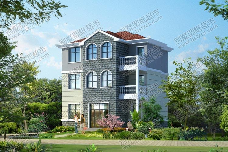 供應簡約舒適三層別墅外觀及庭院綠化效果圖_農村三層自建房圖紙施工