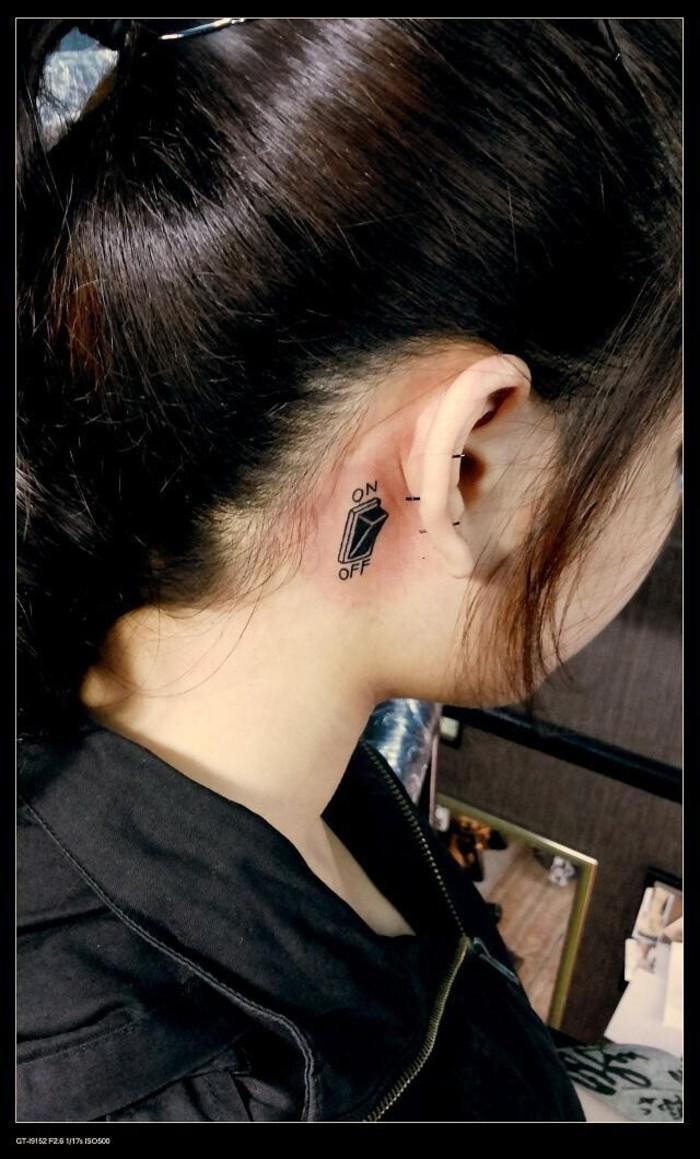 靖江小刚纹身---耳朵后纹身价格