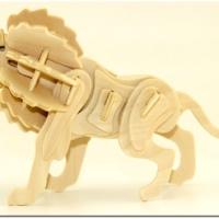 木制3D拼图玩具厂家供应木制DIY仿真立体拼插拼图玩具木制狮子