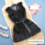 时尚皮草狐狸毛背心图片