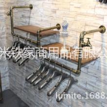 供应复古服装货架铁艺水管服装中岛架图片