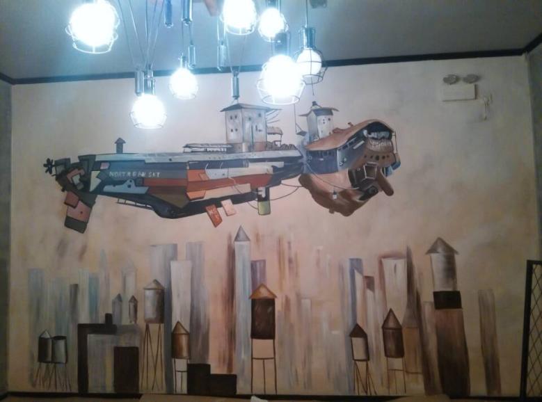 惠洲餐厅壁画彩绘,深圳手绘墙