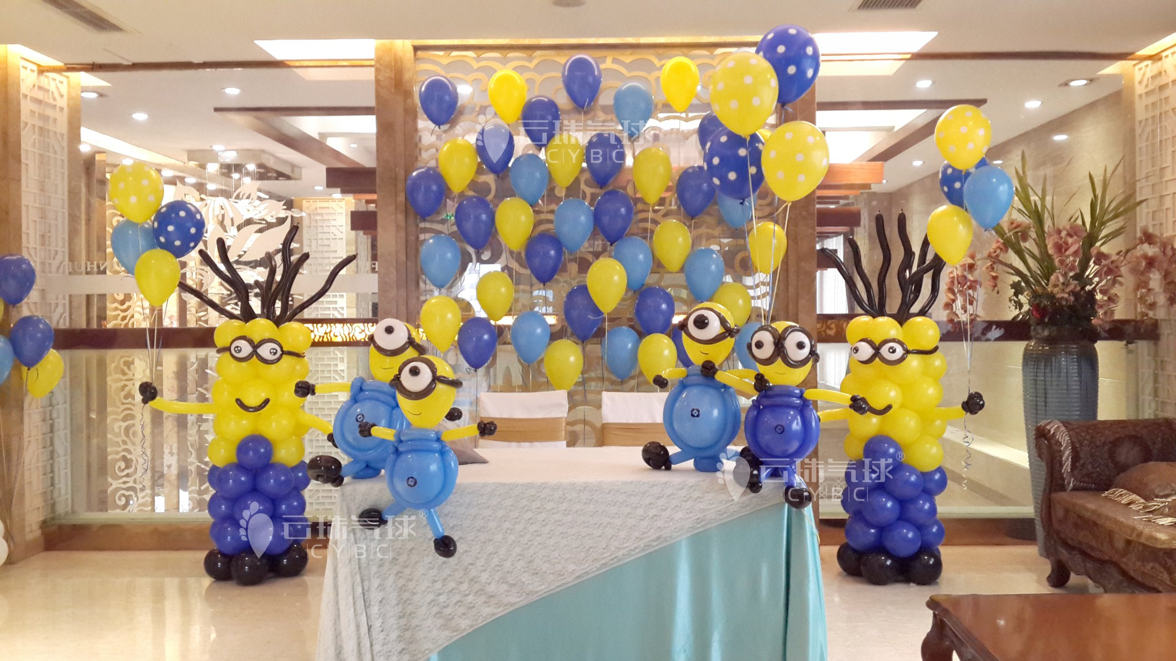 供应小黄人气球造型/成都气球百日宴/主题宝宝宴气球装饰/气球装饰造型