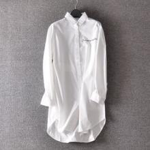 供应袖刺绣字母棉质女士衬衣衬衫