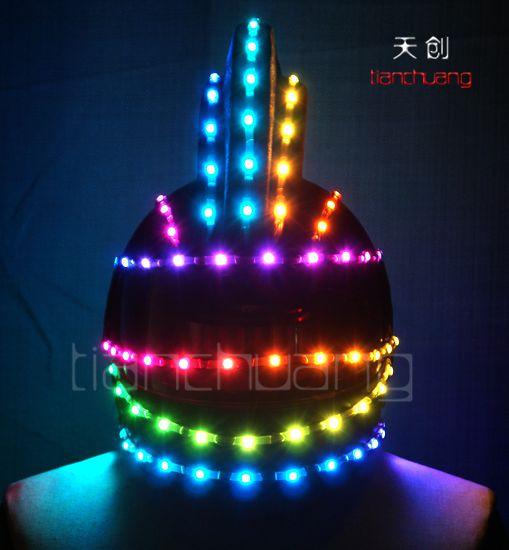 供应led演出发光头饰发光帽子led 全彩LED发光马甲帽子 发光舞台表演发光服装头饰发光帽子发光头盔
