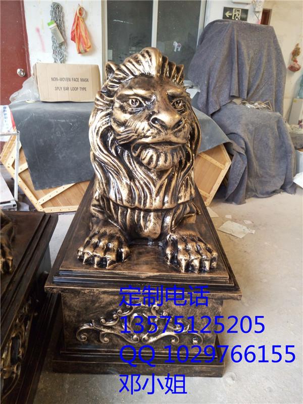 供应酒店大厦楼盘招财狮雕塑风水狮摆件辟邪镇宅玻璃钢狮子树脂仿铜狮子雕塑