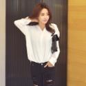 韩版新款个性后背抽绳设计大码衬衫图片