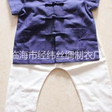 供应新款亚麻儿童唐装民族风短袖套装