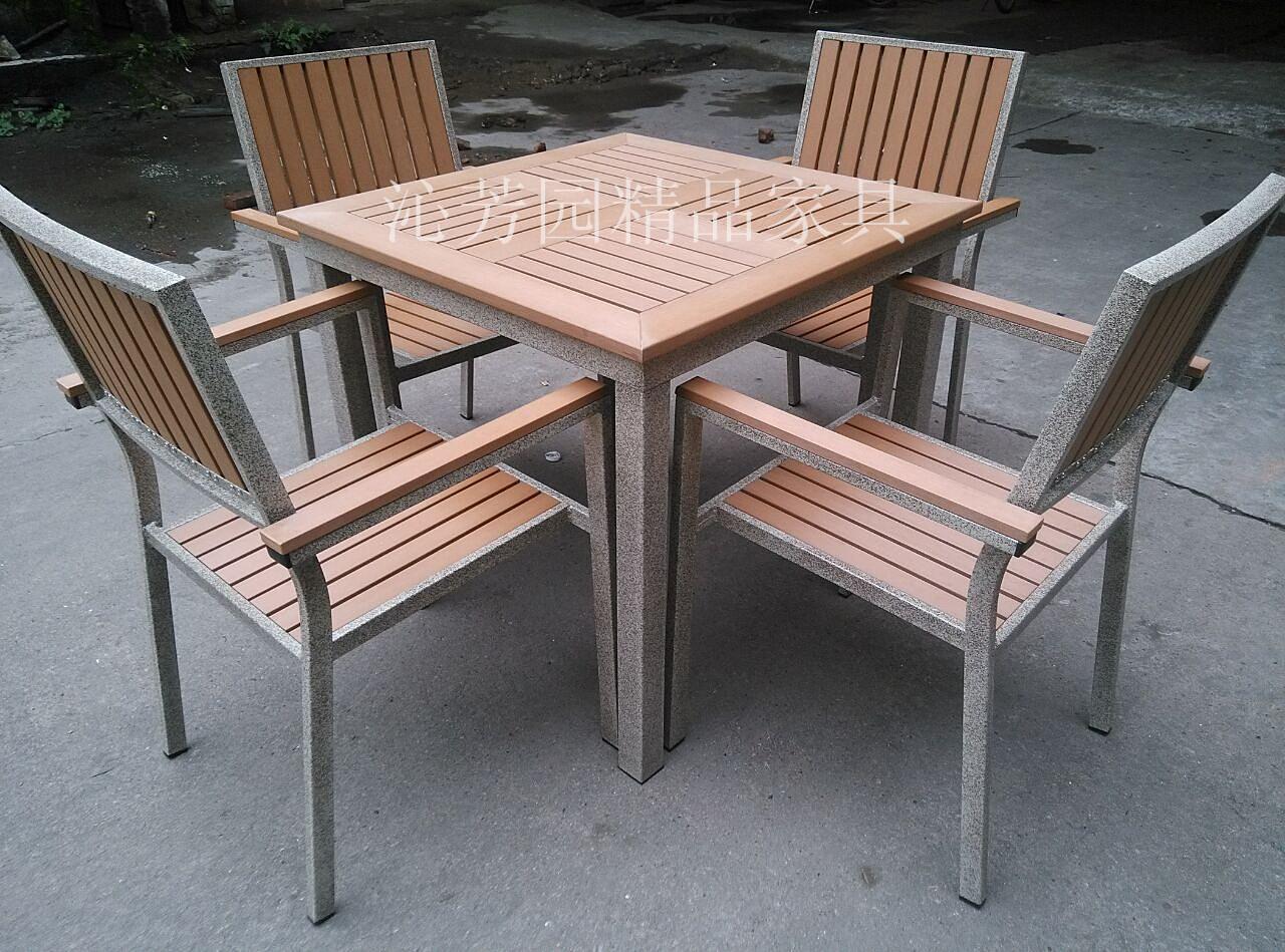 供应户外家具塑木室内园林餐桌椅组合 休闲塑木桌椅 户外铸铝桌椅