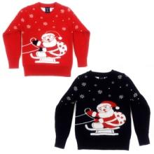 供应男女童圣诞老人童装双层卡通圆领毛衣针织衫批发图片