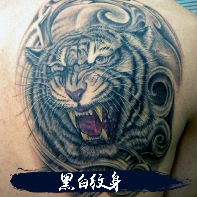 供应黑白纹身 大图花背纹身贴纸猛男纹身刺青关公锦鱼防水纹身