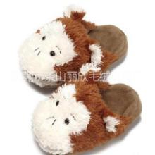 毛绒玩具厂家生产加工毛绒拖鞋  订做玩具拖鞋 定制卡通家居拖鞋