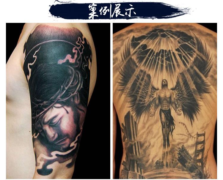 骑马的关公纹身黑白色作品图片