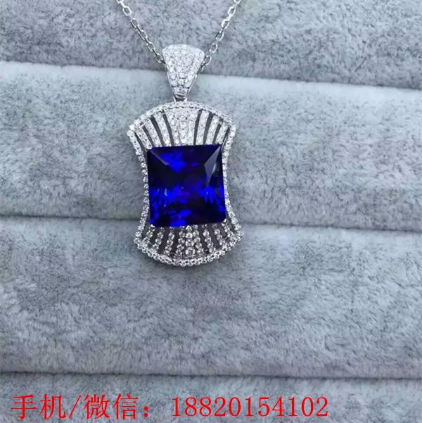 供应公主方坦桑石吊坠 豪华款式坦桑石 深圳坦桑石宝石批发 上海北京坦桑石供应