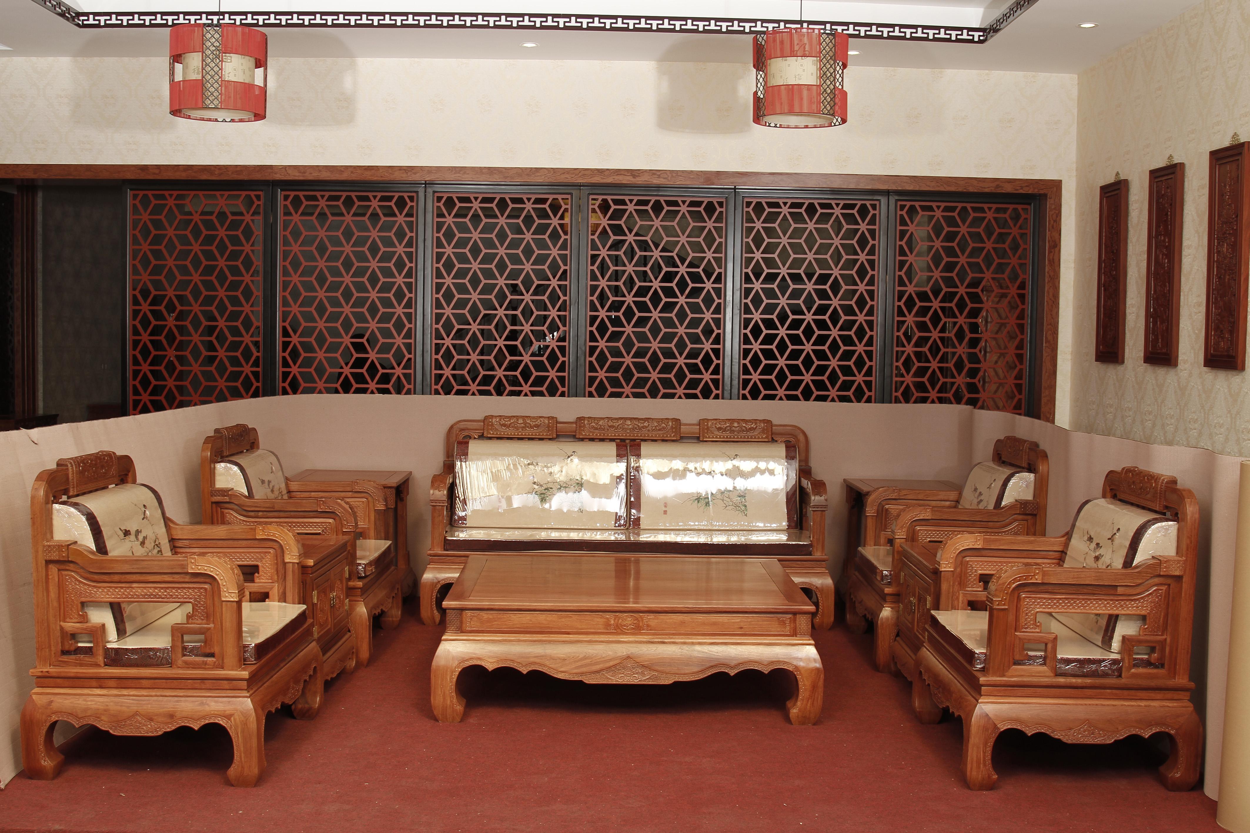 供应用于客厅的福建家具厂鲁创红木家具价格和谐世家沙发