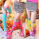 厂家供应儿童圆点中筒袜纯棉女童高筒袜全棉护膝长筒袜小额批发