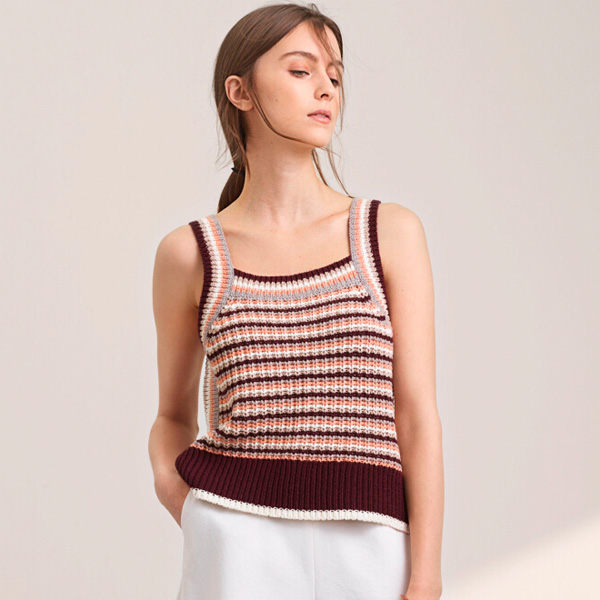时尚撞色背心 百搭毛衣针织上衣销售