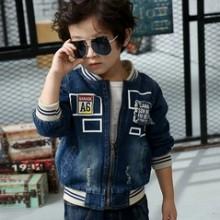 绿宝宝2016新款韩版中小童男童贴布牛仔外套时尚