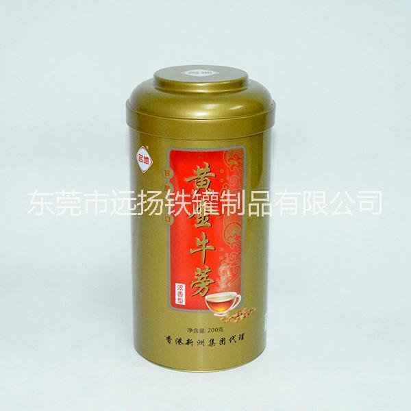 厂家定制 牛蒡茶包装铁盒 圆形铁盒 高档礼品包装盒 茶叶包装铁罐 黄金牛蒡茶铁盒包装圆形茶叶铁罐