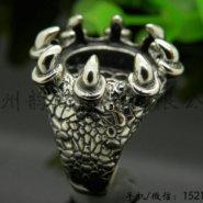 龙爪复古戒指活口银镶嵌托图片