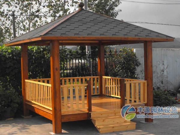 彩瓦户外凉亭优质钢结构塑木四角亭