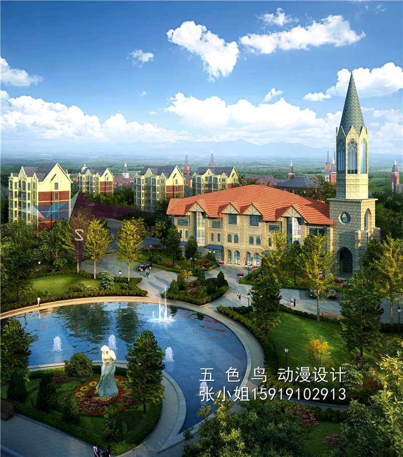 珠海园林景观设计3d效果图鸟瞰图报价
