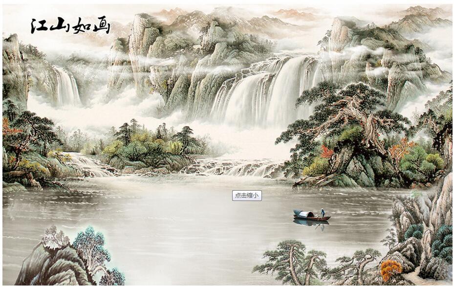广州客厅背景墙壁画厂家定制 广州中式客厅背景墙壁画厂家定制 广州中式国画客厅背景墙壁画厂家