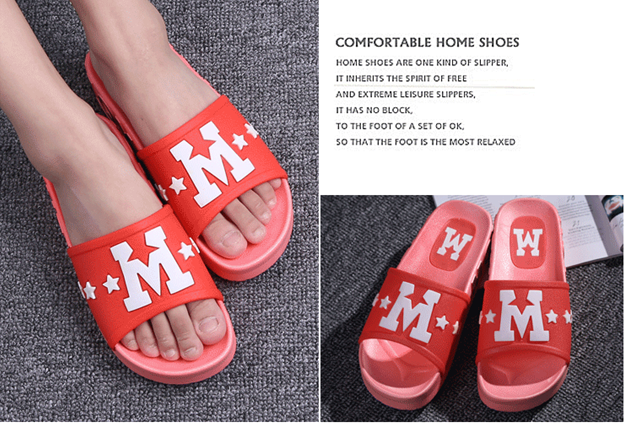 2016韩版新款M字简约拖鞋厂家,夏厚底软底浴室拖,家居室内外防滑拖鞋