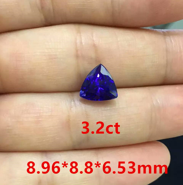 天然三角形坦桑石裸石3.2克拉 戒面18K金镶嵌戒指 定制18820154102 深圳宝石批发