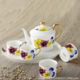 欧式骨瓷茶具6头骨瓷咖啡壶