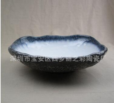 石头纹陶瓷异形大汤碗盆 日韩料理 中餐特色餐具 海鲜刺身碗盘