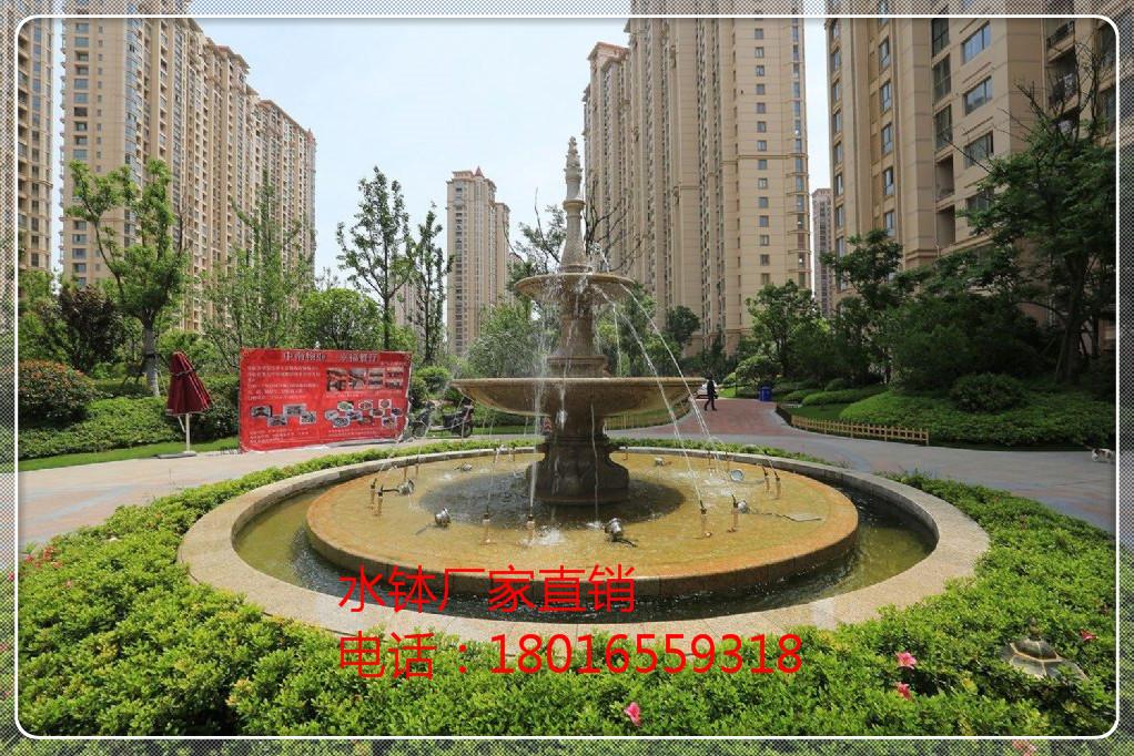 大型广场欧式水景石雕喷泉 别墅小区酒店景观喷泉 黄锈石叠水钵