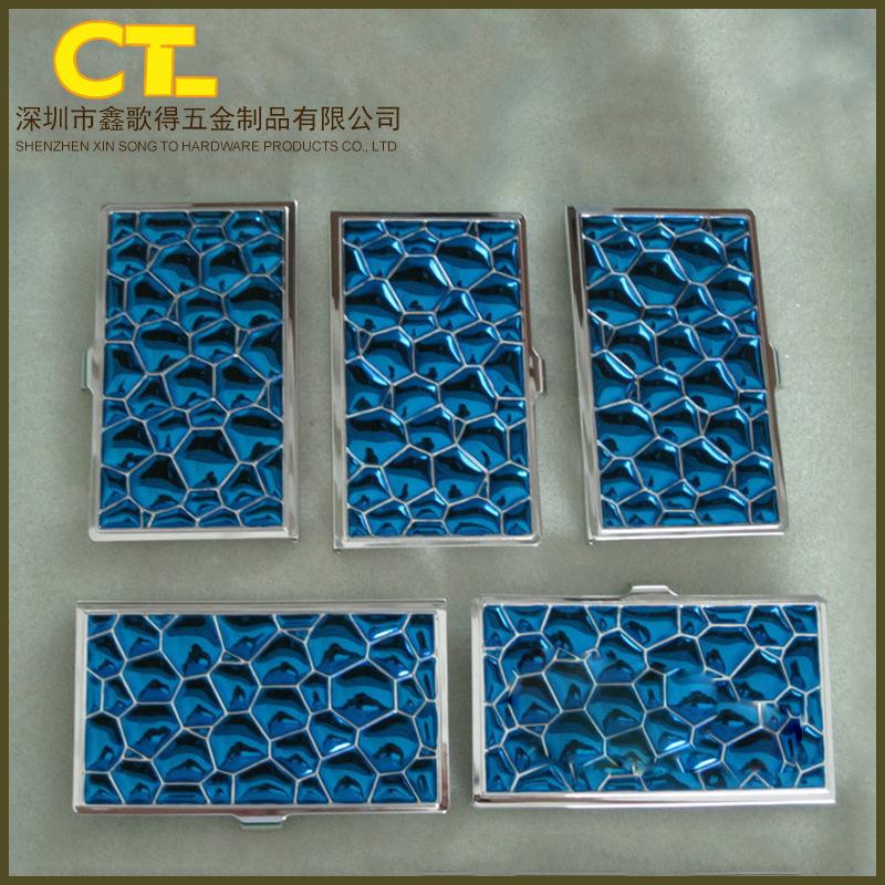 饰品盒蓝色电镀 锌合金电镀加工 时尚小镜子饰品盒电镀