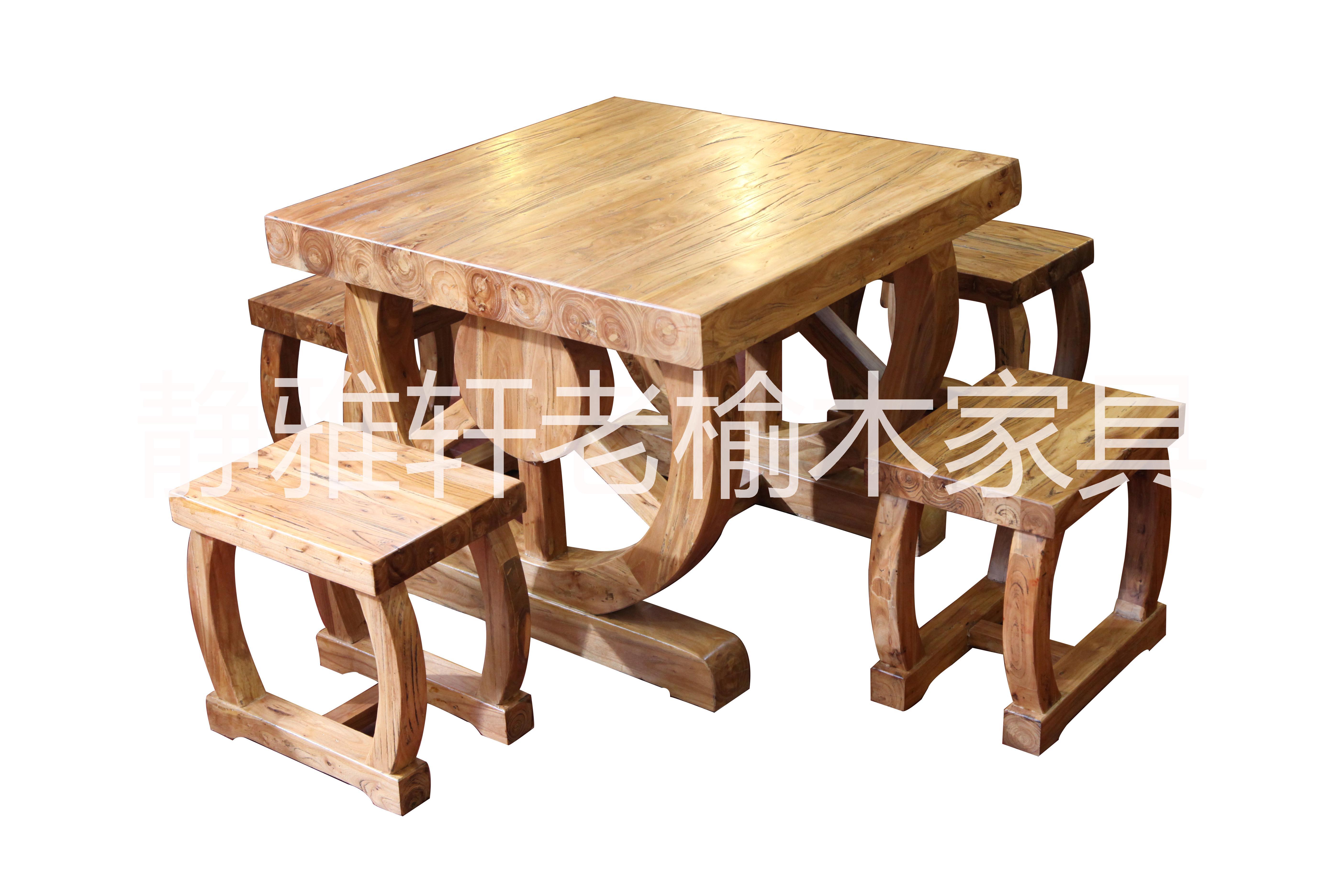 老榆木餐桌图片|老榆木餐桌样板图|老榆木餐桌效果图