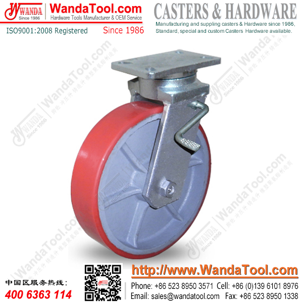 12寸刹车万向轮,聚氨酯万向轮,出口万向轮,承重1.6吨万向轮