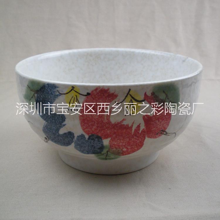 日式陶瓷釉下彩外圈纹面碗汤碗 日韩式拌饭碗 酒店餐厅陶瓷餐具