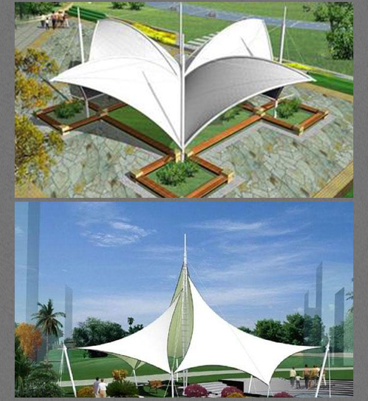 建筑结构膜结构钢索张拉成型高强薄膜材料尺寸量身定做